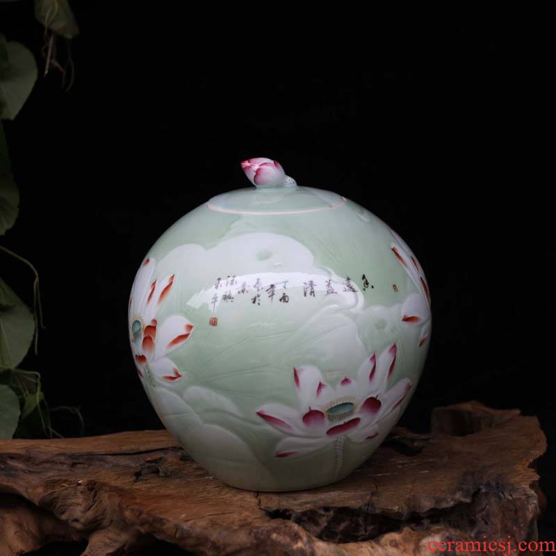 15 jin famous jingdezhen hand - made porcelain carved lotus cover pot barrel ricer box collection place food as cans