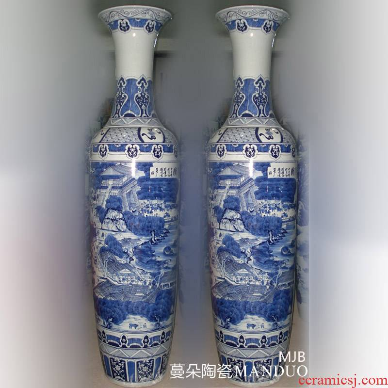 Jingdezhen pure hand draw clear painting porcelain floor 2.2 meters large vase opening taking style gifts