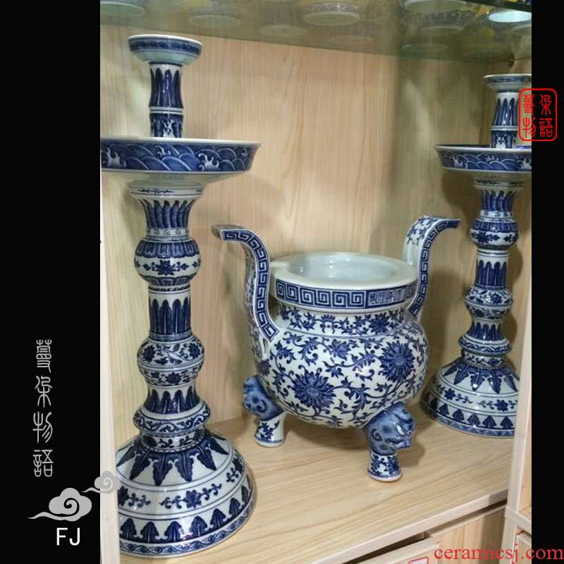 Jingdezhen imitation qianlong five gong set porcelain flower vase with candlestick censer atmosphere of pure hand - made five for blue and white suit