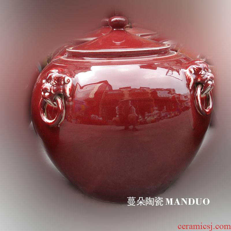 Jingdezhen ruby red porcelain up porcelain lion a porcelain crock pot rice pot 50 pounds