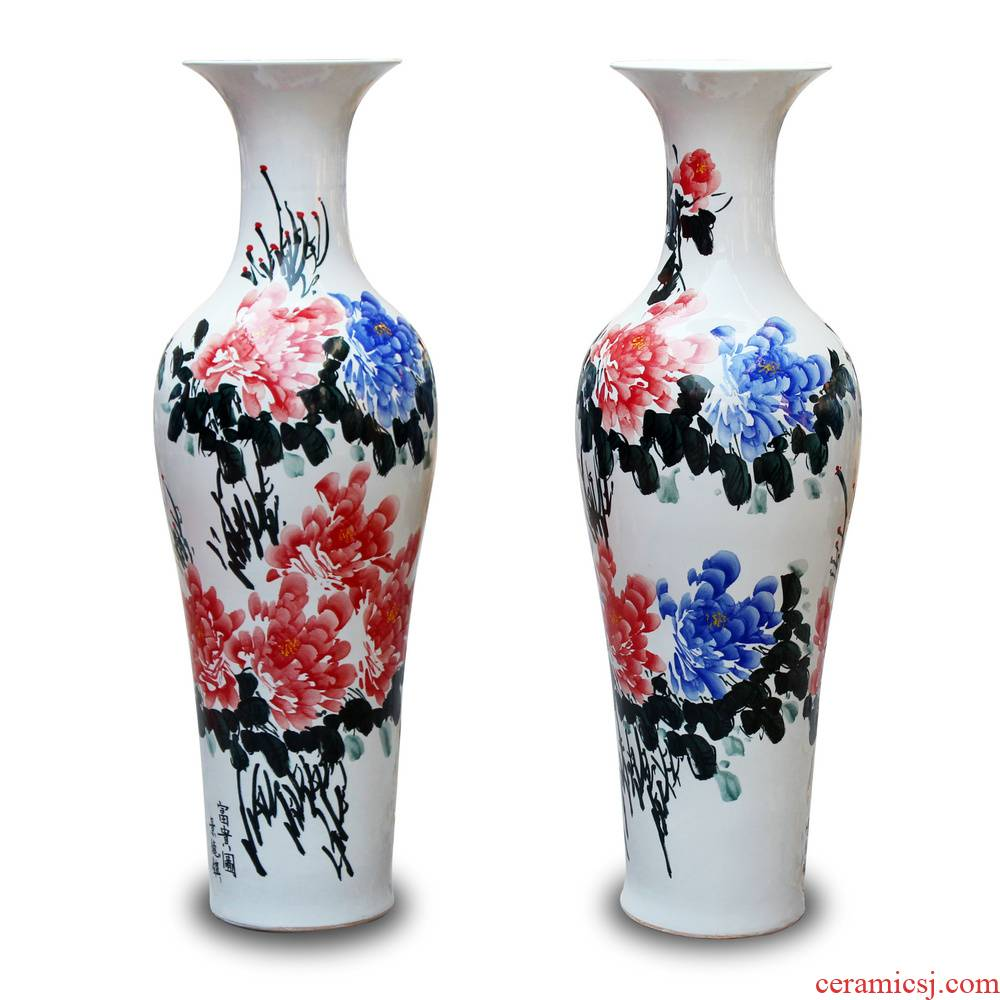 Jingdezhen ceramics vase peony riches and honour the contributor of large hotel lobby sitting room adornment is placed