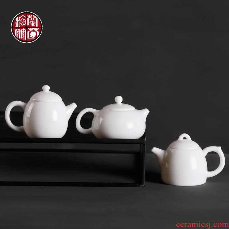 Dehua white porcelain teapot kung fu tea teapot sweet white high white porcelain pot of pure white beauty item ceramic pot