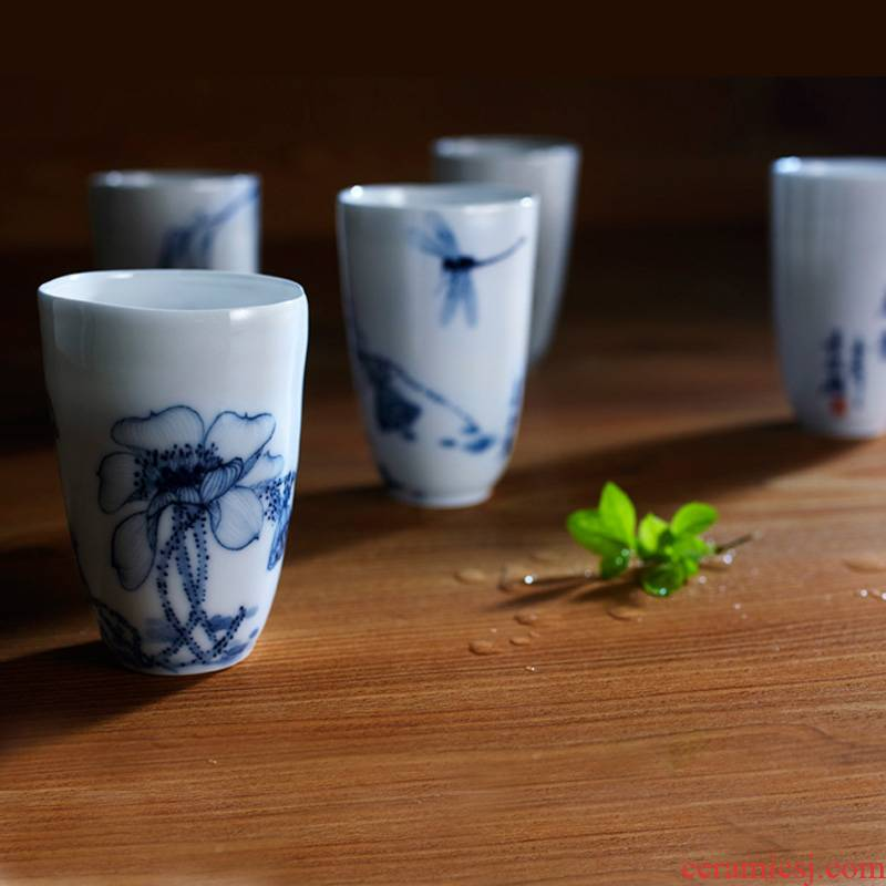 Red xin hand pull embryo blue - and - white porcelain cup hand - made porcelain to zen cup under the single CPU master cup jingdezhen glaze color