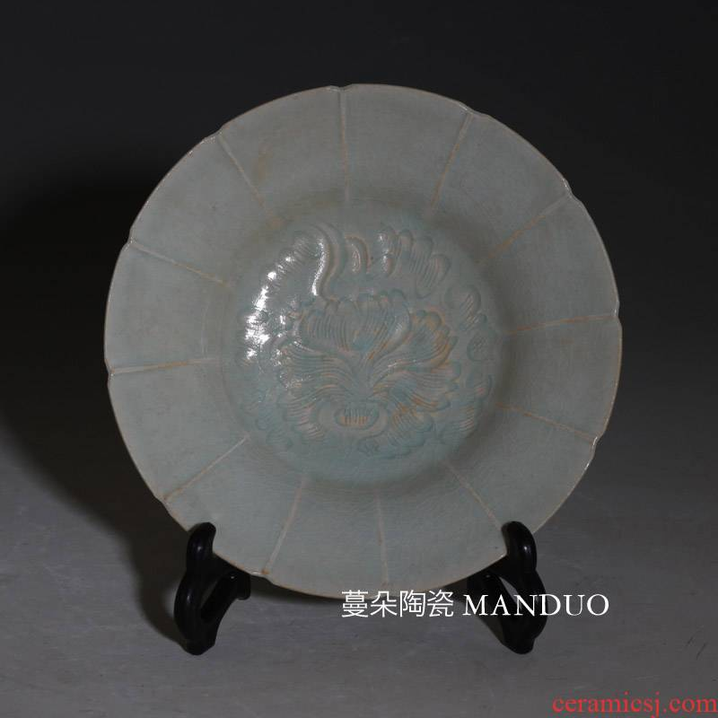 Peony shadow blue Peony hang dish antique porcelain in song dynasty shadow green China plate shadow copy left up green bowl