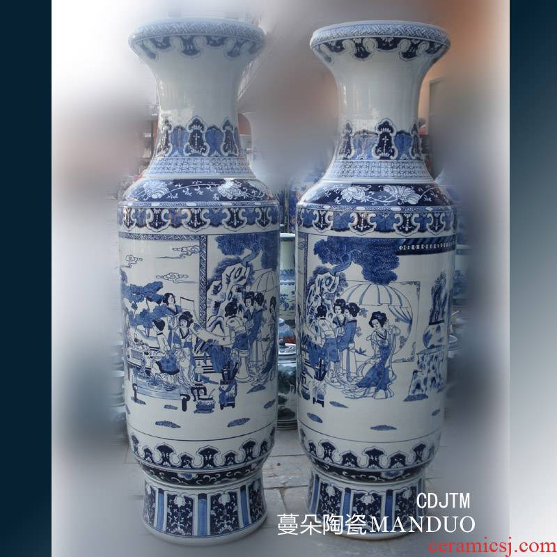 Jingdezhen hand - made 1.8 meters high bulky hand - made classical traditional Chinese porcelain vase hand - made beauty of the big vase