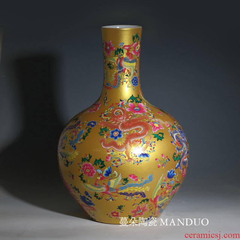 Yellow celestial longfeng porcelain vase jingdezhen porcelain in Yellow rich porcelain vase