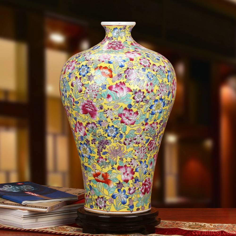 Jingdezhen ceramics art porcelain factory factory goods upscale boutique pastel yellow flower vase peony the French