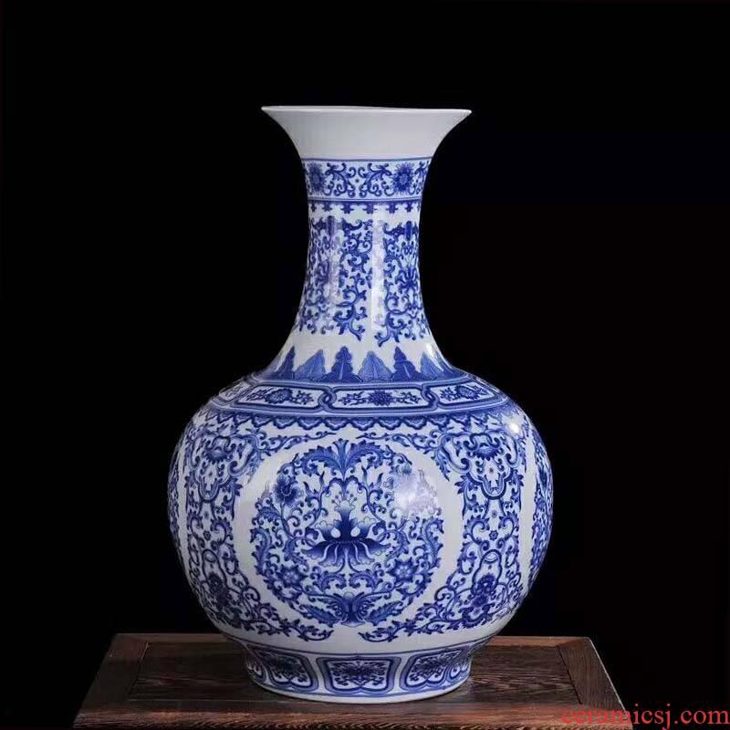 55 cm high ceramics jingdezhen porcelain design of flowers and birds xiantao lad cranes ceramic small bottles of furnishing articles
