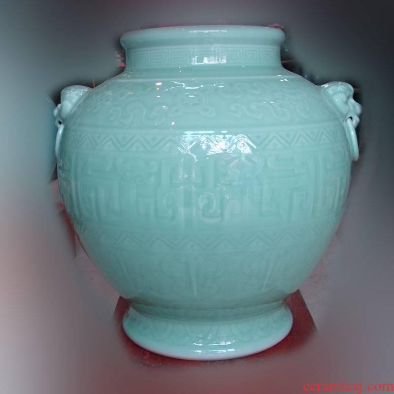 Jingdezhen high - grade pure color carving celadon mesa decorative vase classical decorative vase benevolent vase