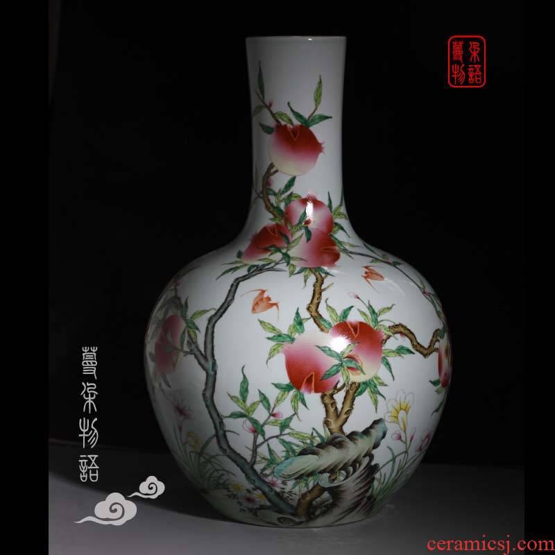 Jingdezhen Jingdezhen hand - made pomegranate imitation kangxi porcelain vases famille rose porcelain vase on the celestial sphere