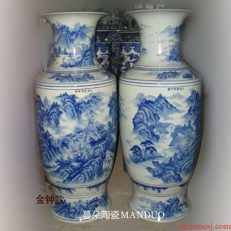 Jingdezhen blue and white landscape hand - made imitation kangxi porcelain vases 1 m high living room furnishings high - grade vase