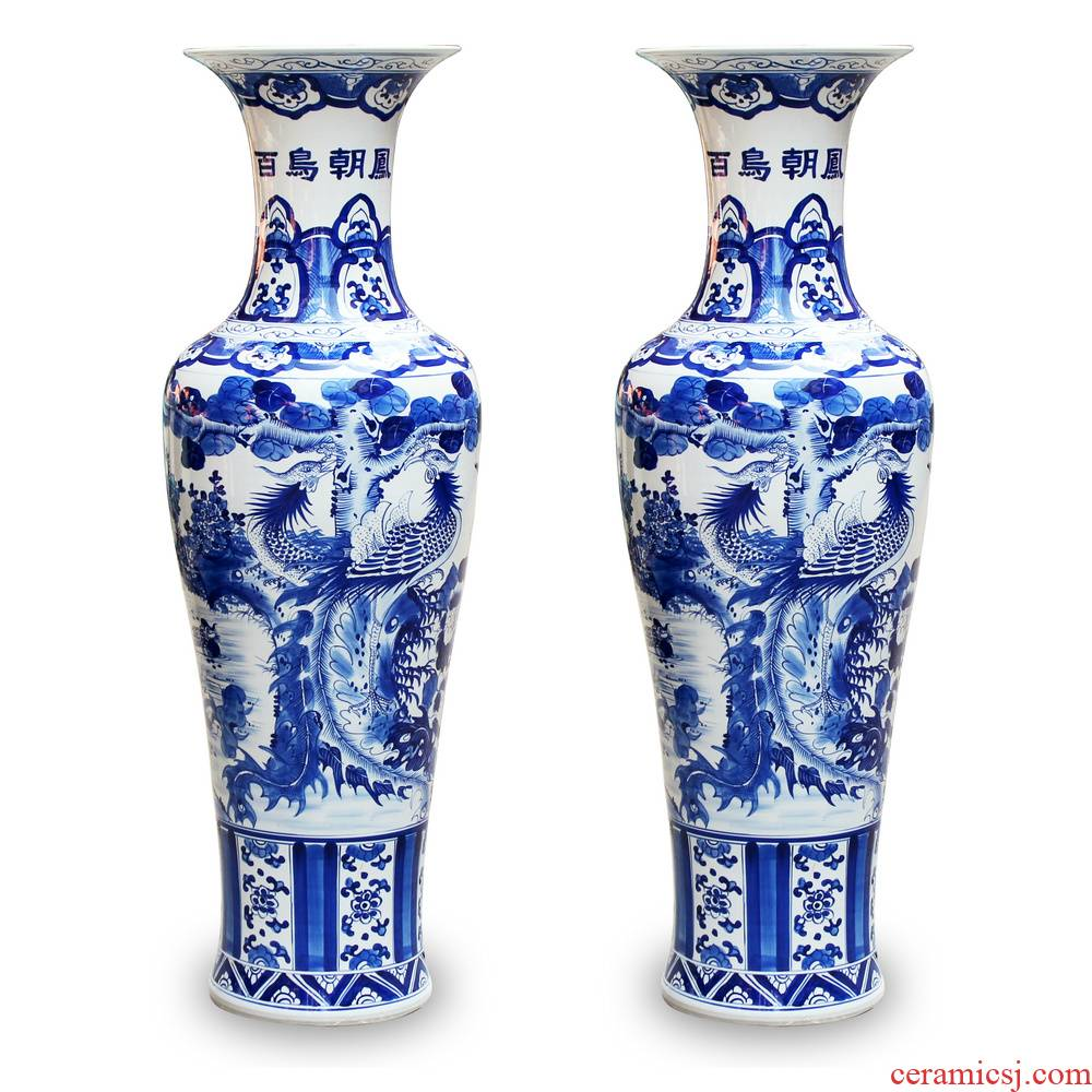 Jingdezhen blue and white ceramics hand - made birds pay homage to the king of large vases, modern Chinese style living room decoration furnishing articles