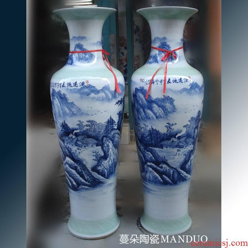 Jingdezhen blue and white landscape hand - made people elegant indoor living room 1.6 meters tall vase hand - made porcelain vase