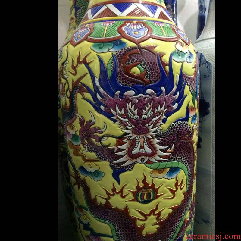 Jingdezhen hand - made color yellow bottom relief dragon 2.2 meters tall vases