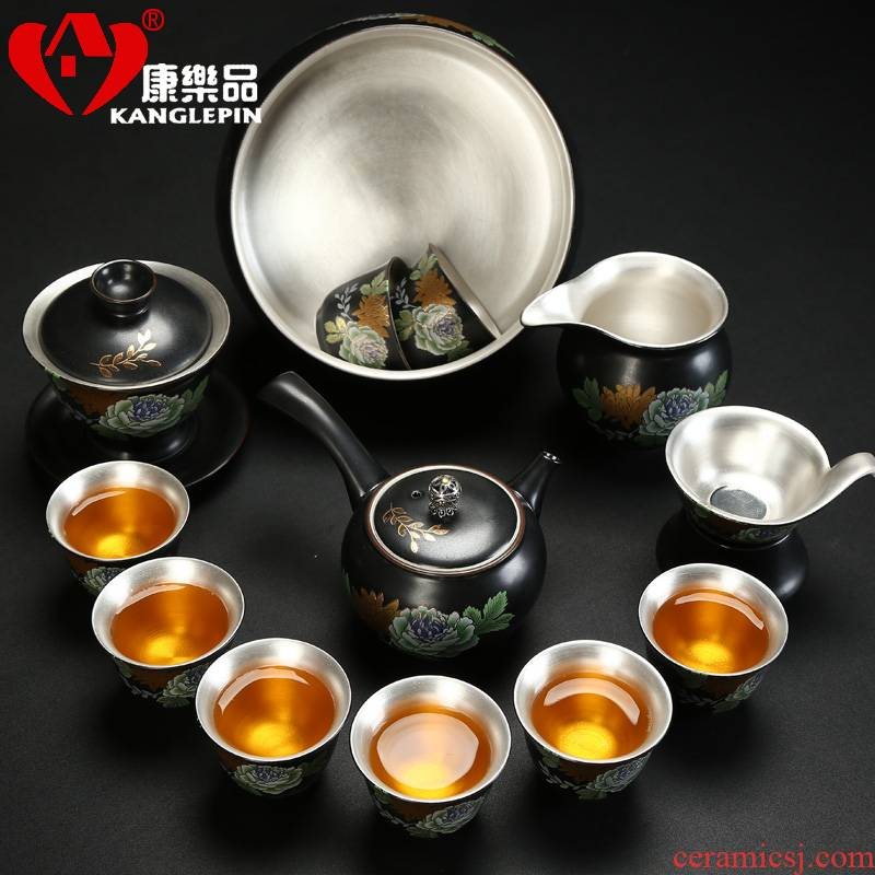 Recreational product tasted silver kung fu tea set creative silver gilding ceramic tureen tea cups of a complete set of home sitting room the teapot