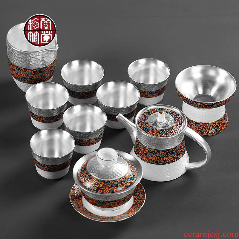 Imitation of Chinese lacquer Chinese style household coppering. As 999 silver restoring ancient ways of high - grade ceramic kung fu tea set for gift set gift boxes