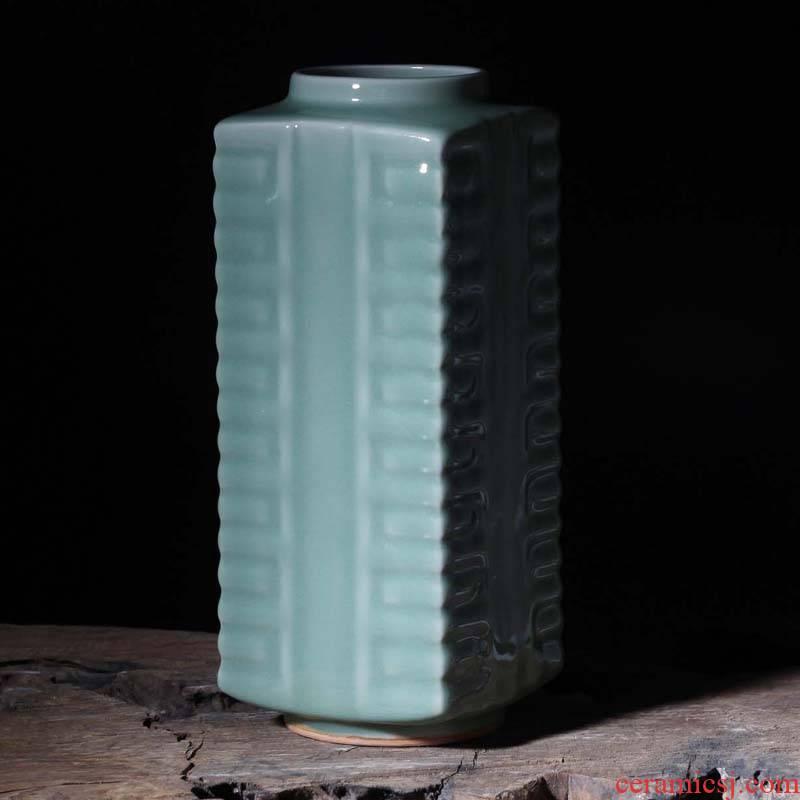 Jingdezhen glaze porcelain, jade cong longquan square porcelain vase elegant rich ancient frame decorative art vase