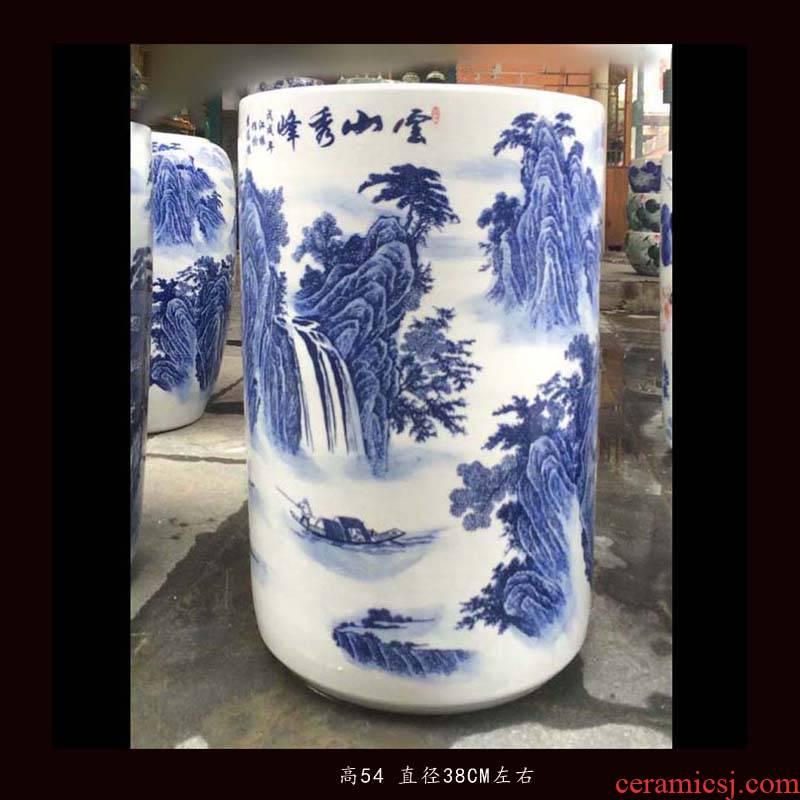 Jingdezhen blue and white landscape quiver straight hand - made ceramic vase khe sanh autumn mood lotus flower ceramic quiver