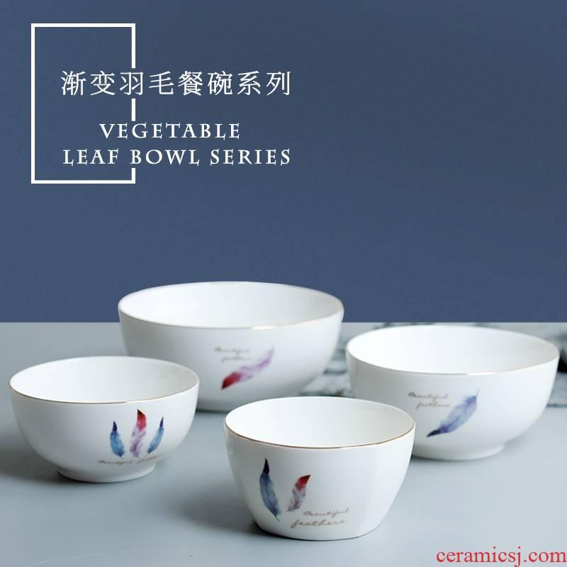 Jingdezhen ceramic bowl domestic large such as soup bowl Japanese contracted Nordic eat bowl under glaze color porcelain tableware