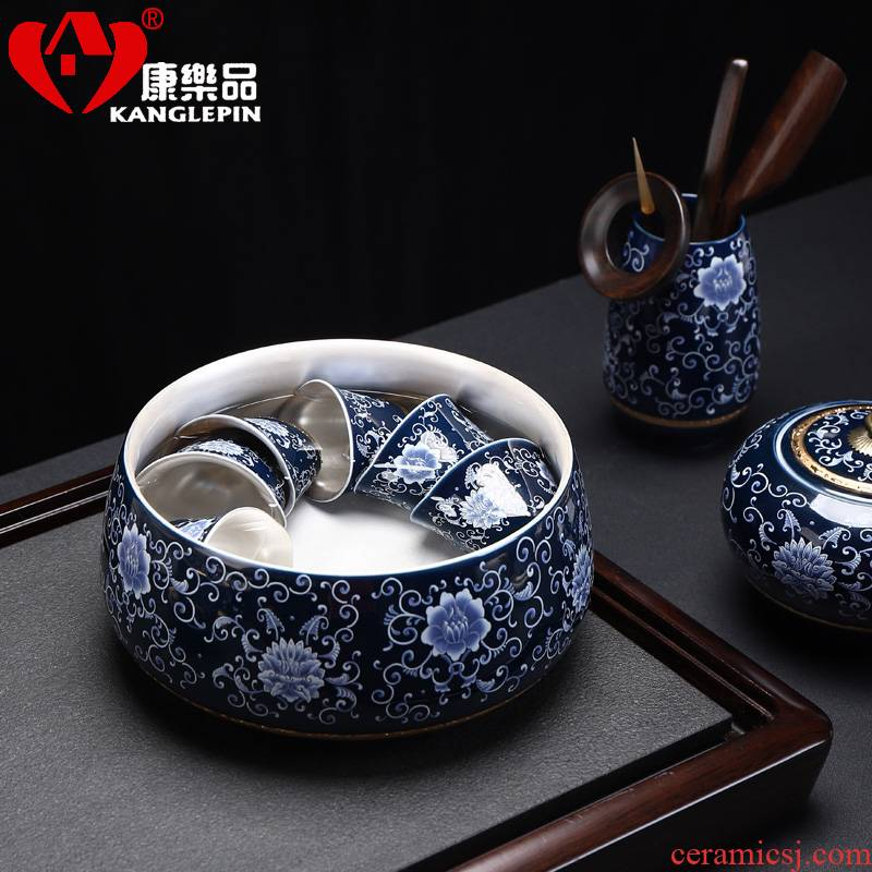 Recreational product tank coppering. As silver 999 with dark blue and white porcelain accessories tea zero township floating big kung fu tea set writing brush washer