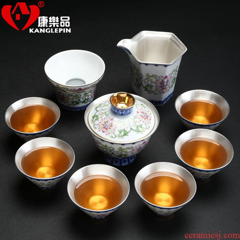 Recreational product ceramic tea set 999 coppering. As silver gift boxes kung fu tea set tea cup three tureen the whole group