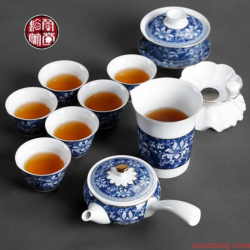 Kung fu tea set home sitting room tea ceramic 6 6 pack of a complete set of hand draw Chinese style restoring ancient ways is the teapot teacup suits for