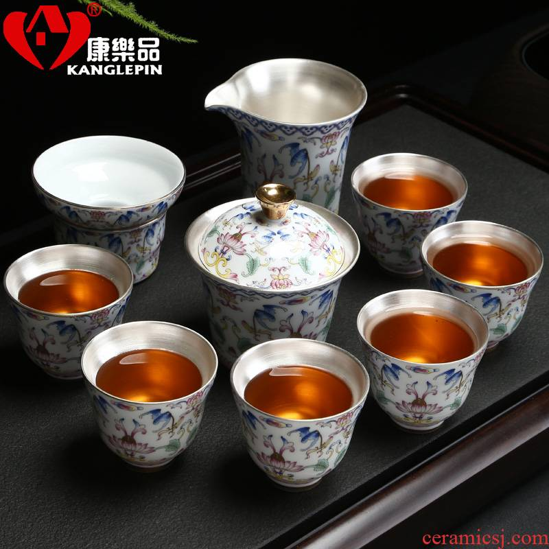 Recreational products a complete set of silver cup 999 sterling silver tureen kung fu tea set exquisite bladder coppering. As silver tea set, ceramic