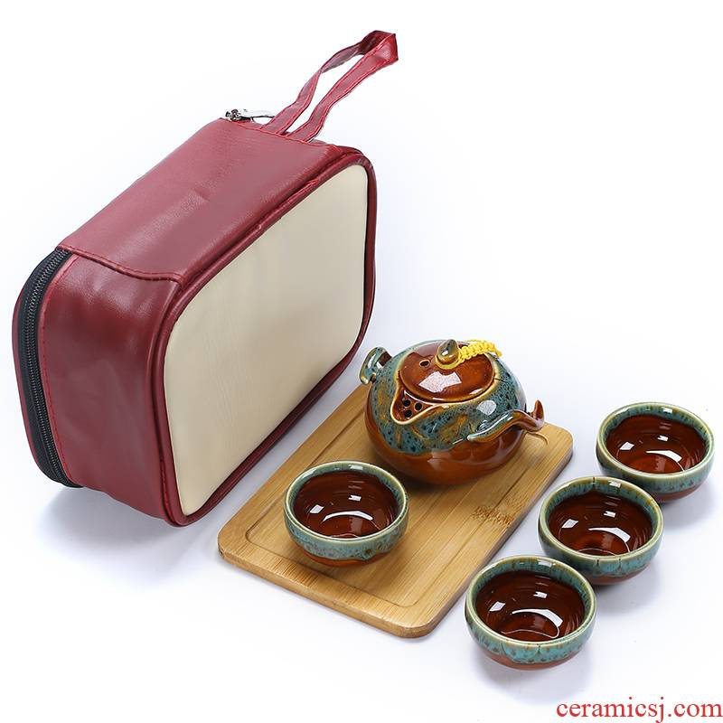 Ceramic up kung fu tea set home a pot of 24:27 and crack cup portable package travel gifts custom logo