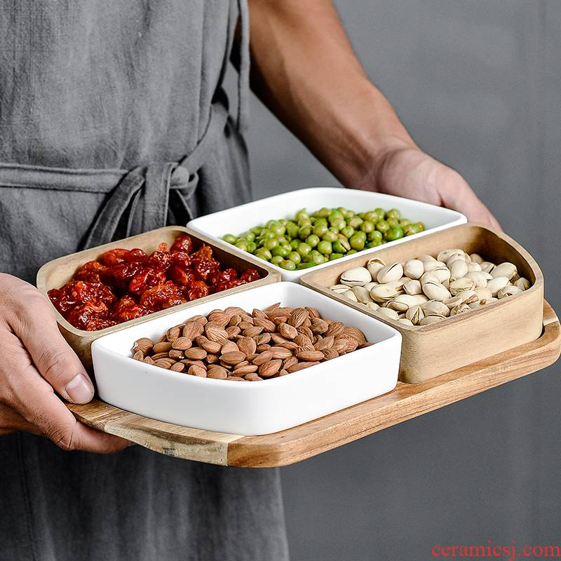Boreal Europe style 'lads' Mags' including nuts disc ceramic frame plate snack plate dried fruit snack plate for a holiday home candy dishes
