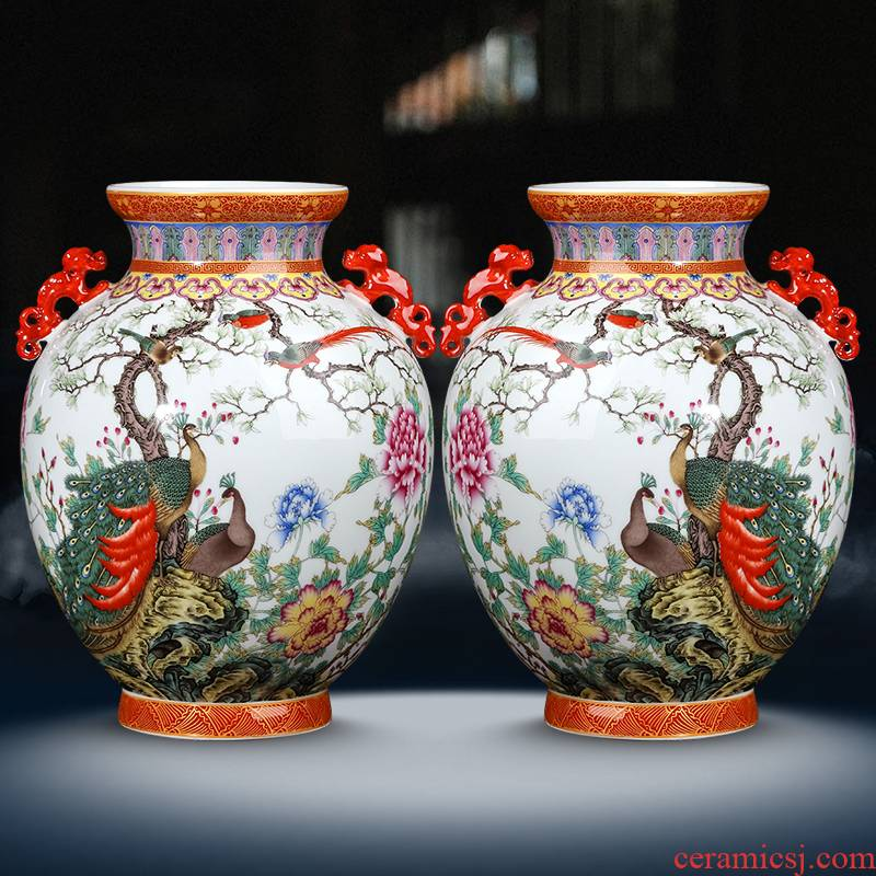Jingdezhen ceramic vase furnishing articles archaize ears peacock enamel bottles of Chinese style living room porch flower decorations