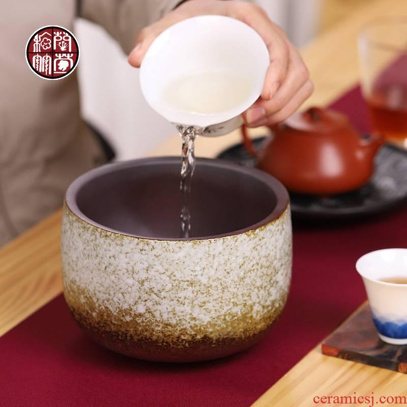 Tea to wash large Japanese zen water jar coarse TaoFang wash cup vessels of household Tea accessories in hot waste water bucket