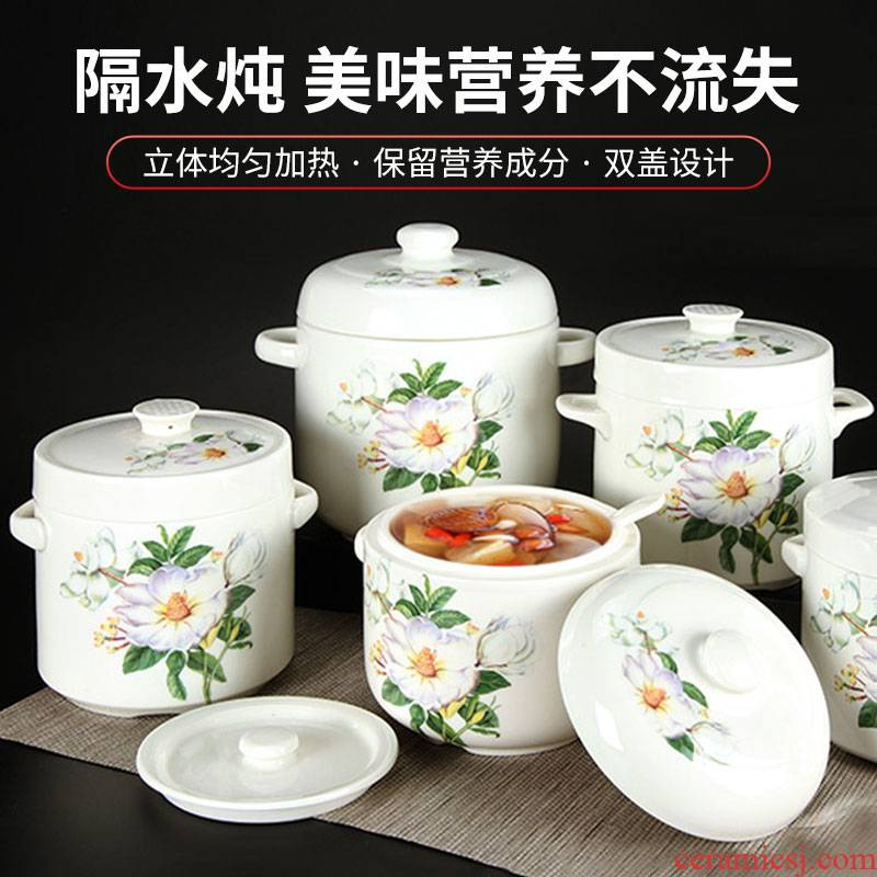 Take tureen ceramic cup bowl of water stew stew pot of stew stew with cover bird 's nest size double cover steamed soup bowl