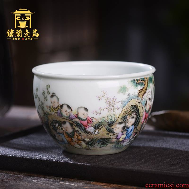 Jane don spill pastel lad master cup of jingdezhen ceramic hand - made all single CPU kung fu tea set personal tea cup