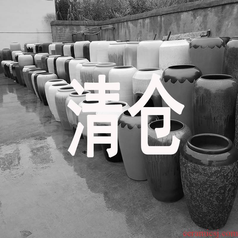 Clearance of jingdezhen ceramic vase landing retro POTS coarse pottery flower arranging dried flowers sitting room place courtyard garden decoration