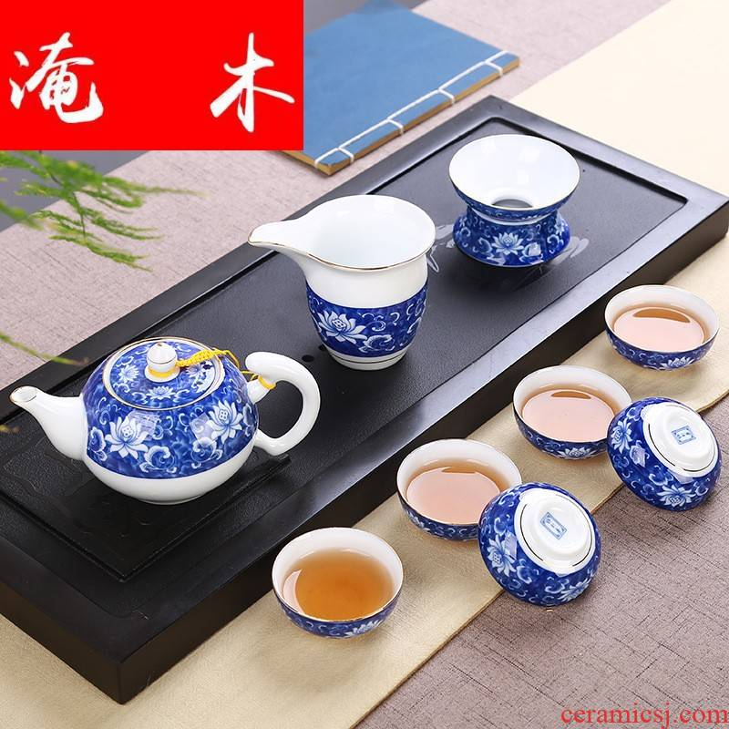 Flooded wooden household hand - made kung fu tea cups high - white porcelain paint full straight side to the pot of narrow pot lid bowl of tea set