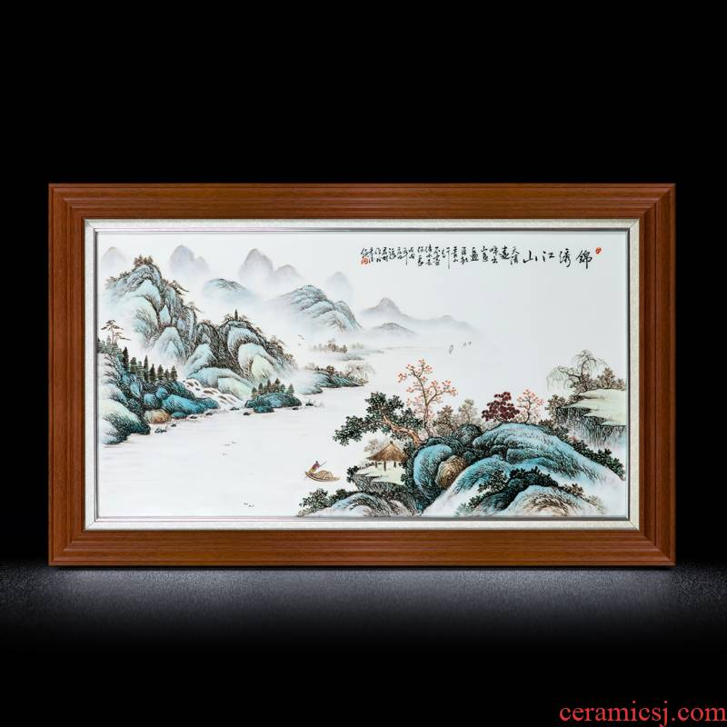 Jingdezhen ceramic porcelain plate painting of modern Chinese style adornment manual coloured drawing or pattern and the living room sofa setting wall hangs a picture