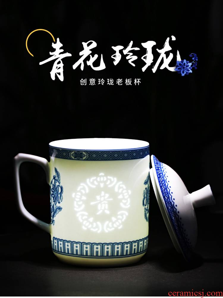Jingdezhen ceramic cups with cover for Chinese style household porcelain and exquisite glass office cup boss meeting