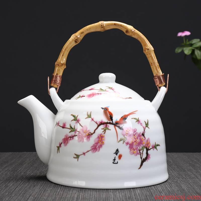 Large capacity ceramic teapot girder pot of hot pot teapot 1000 ml of jingdezhen high white porcelain teapot restaurant