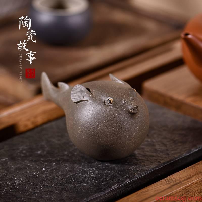 Japanese ceramic furnishing articles pet boutique story tea to keep tea tea set decoration accessories play fugu tea table decoration