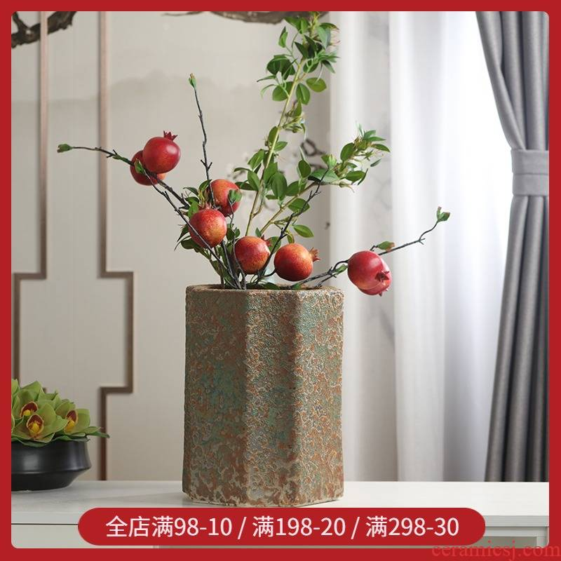 Retro large manual grinding ceramic flower pot basin of high - end trees garden high ground coarse pottery is suing planter