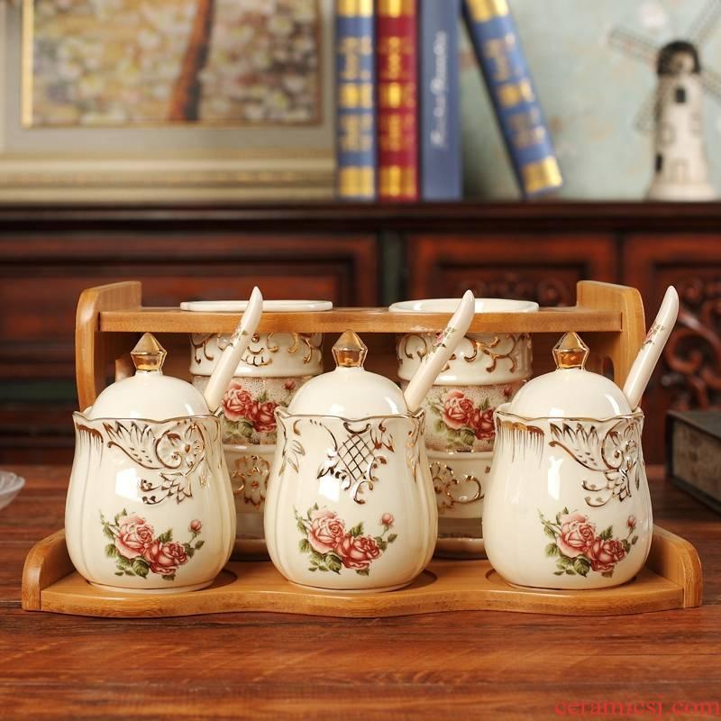 Qiao mu kitchen seasoning jar of sauce vinegar bottle double barrel combination box household ceramics seasoning box oil can chopsticks suit