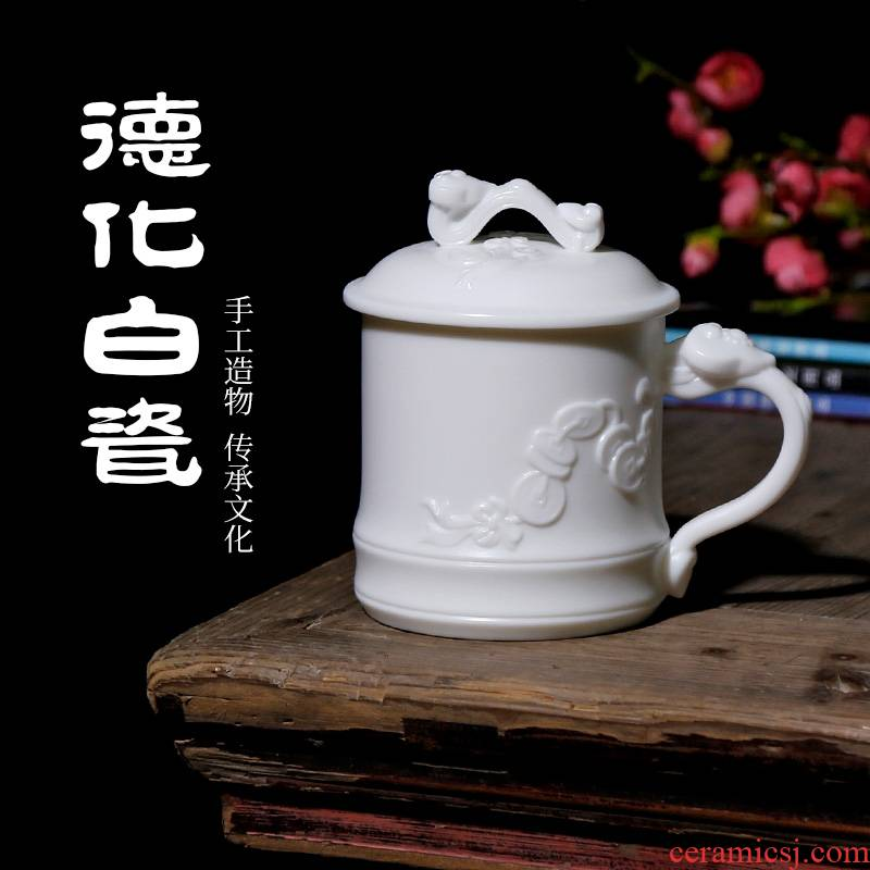 Qiao mu PMZ pure manual dehua white porcelain teacup master cup personal cup with cover large capacity ceramic mugs