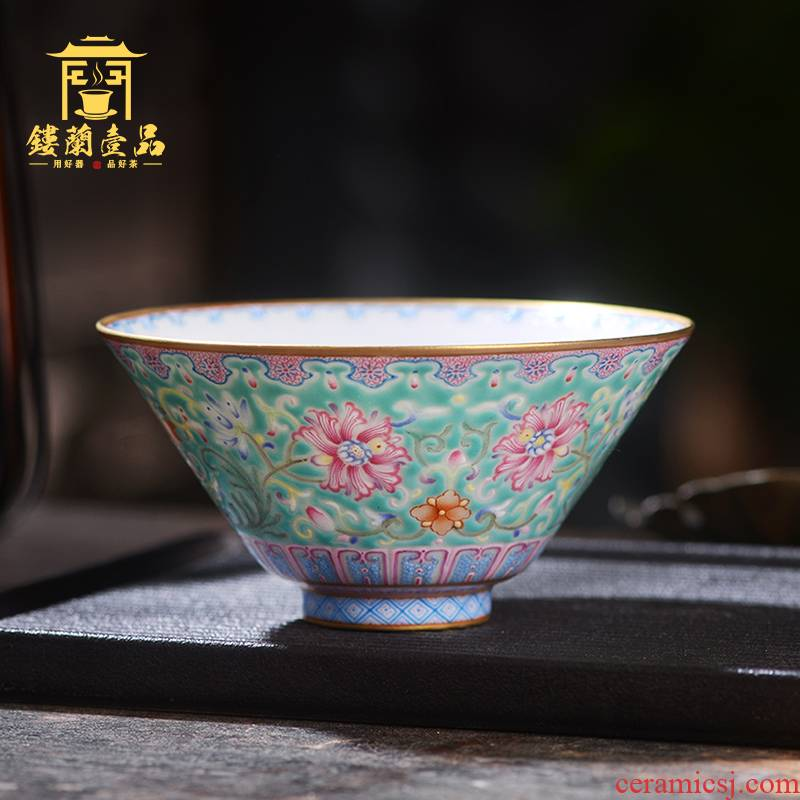 Jane don spill green space around branch lotus master cup of jingdezhen ceramic hand - made single CPU kung fu tea set sample tea cup tea cup