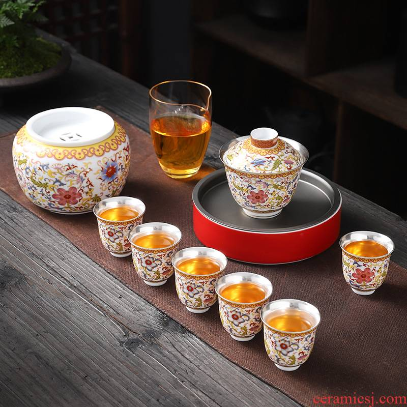 Jingdezhen senior coppering. As silver tea set 999 sterling silver set the home office to receive a visitor kung fu tea tureen tea cups