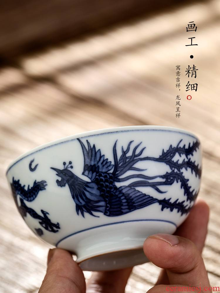 Jingdezhen porcelain kung fu tea masters cup single cup tea pure manual sample tea cup only hand - made longfeng bowl