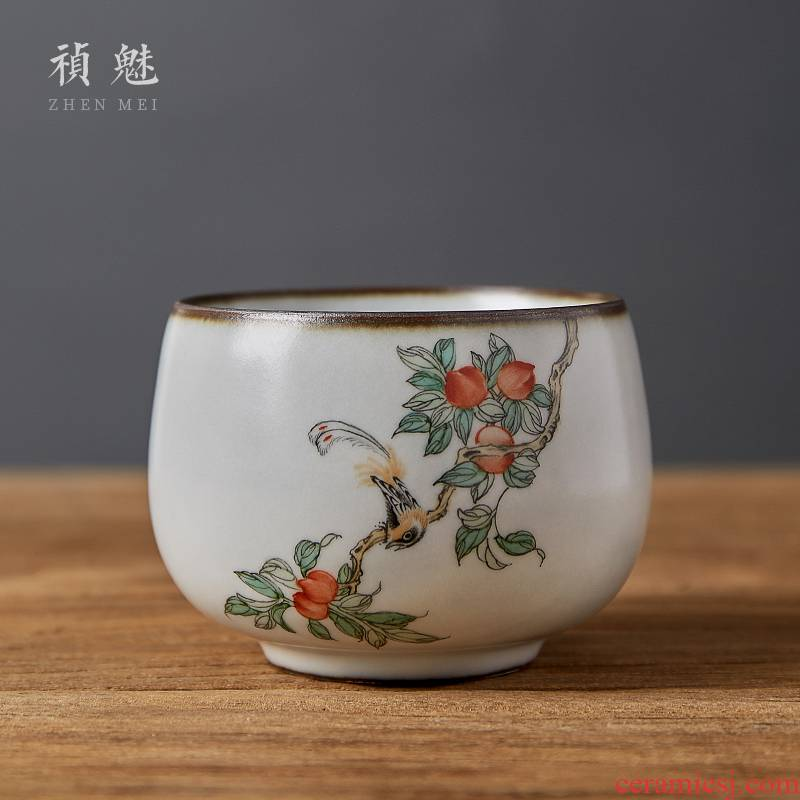 Shot incarnate the jingdezhen ceramic your up hand - made painting of flowers and a cup of kung fu tea set sample tea cup cup single CPU slicing can be a master