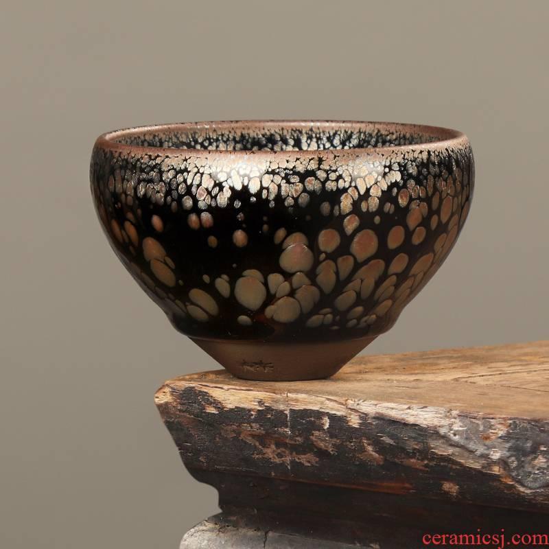 Artisan fairy zijin building lamp cup master cup single cup large ceramic tea oil droplets, kung fu tea set manually