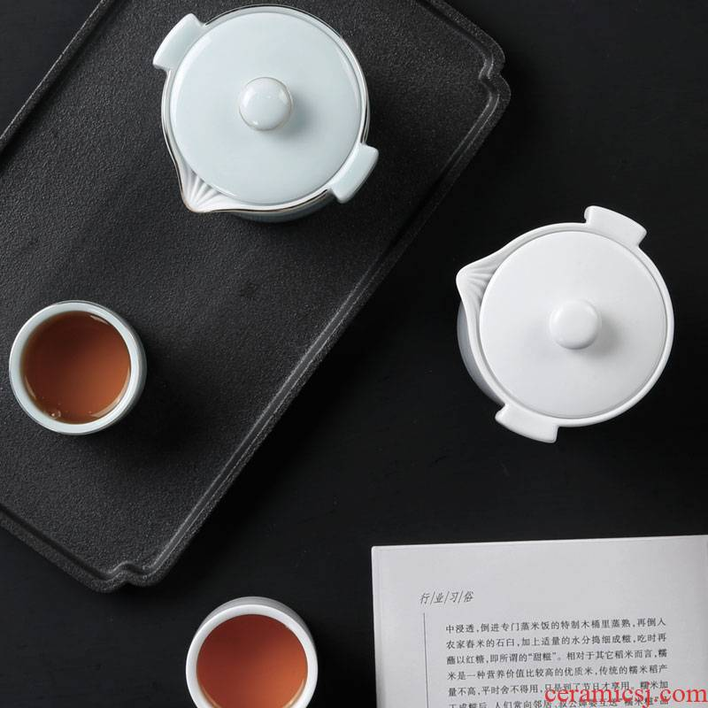 Qiao mu travel crack cup a pot of two cup of household ceramic teapot teacup portable kung fu tea set