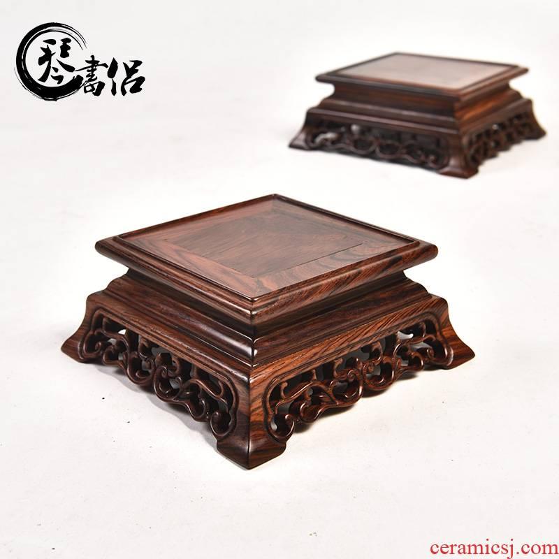 Pianology picking red rosewood stone vases, flower POTS of Buddha carved mahogany base furnishing articles square bracket base