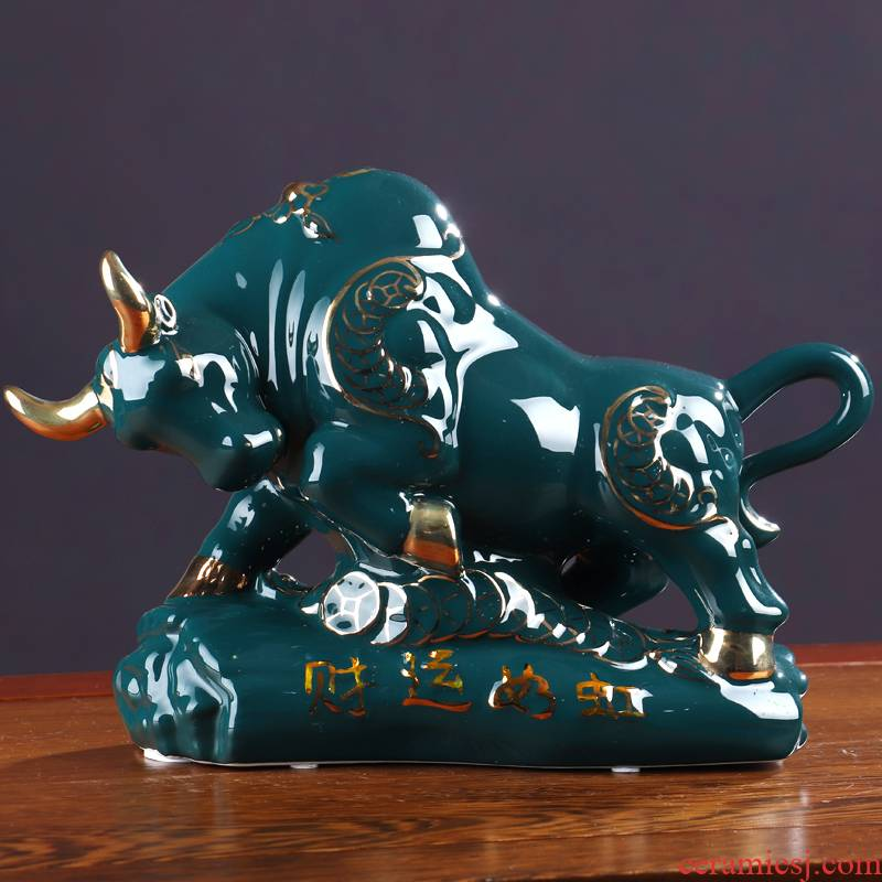 The year of The ox of jingdezhen ceramics furnishing articles sitting room adornment rich ancient frame of new Chinese style wine The opened arts and crafts